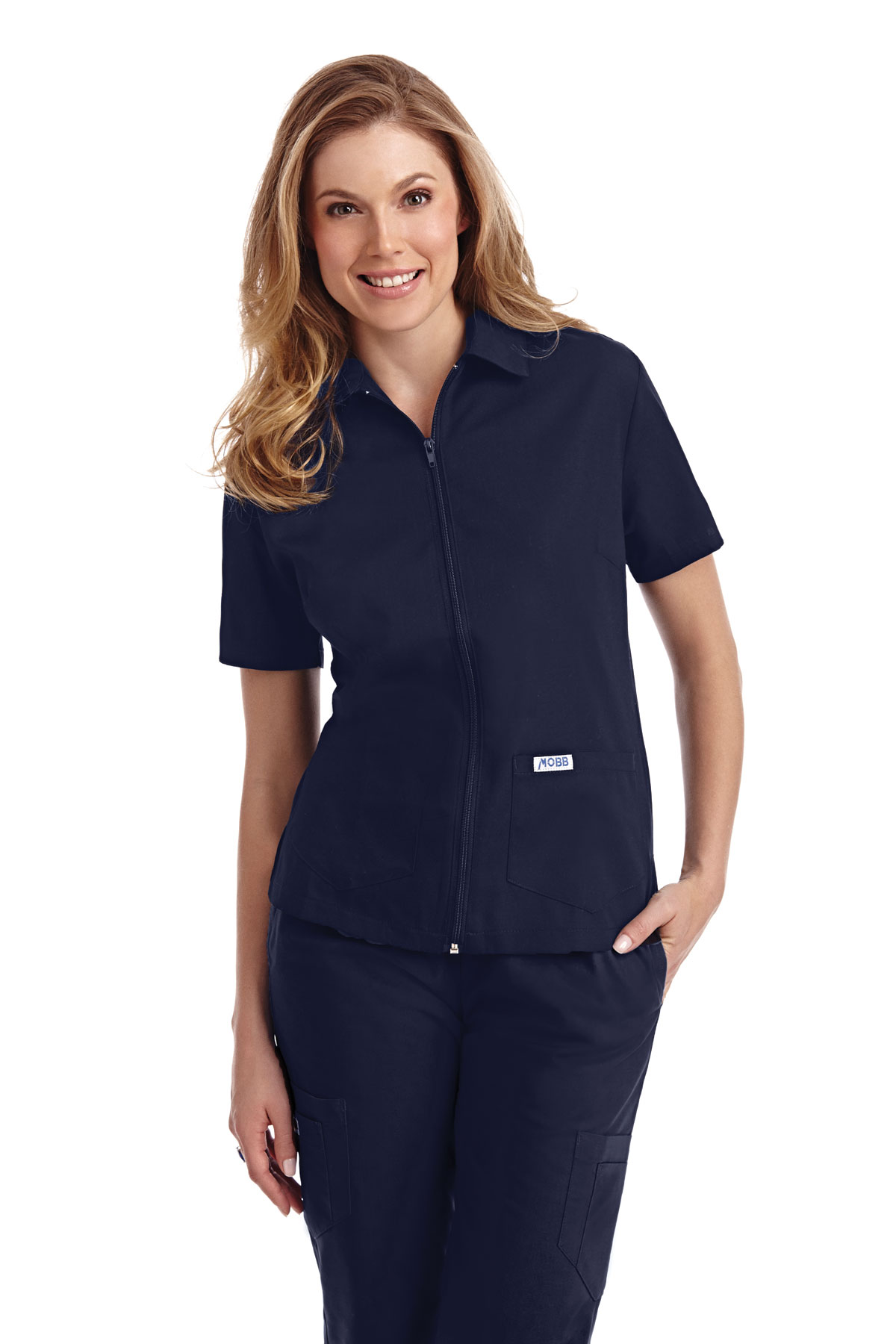 ZIPPER FRONT LADIES WORK SCRUB  TOPS