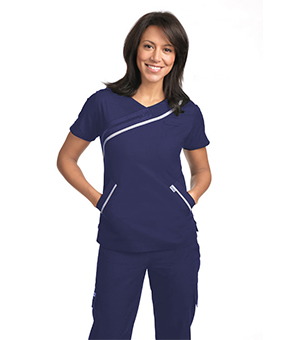 LADIES ZIPPER DETAIL SCRUB TOPS